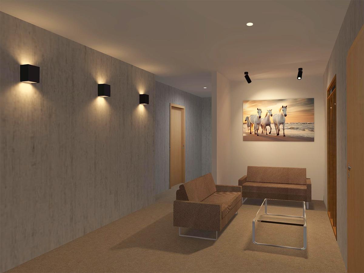 เพิ่มมิติให้ห้องนั่งเล่น ด้วยเทคนิคการเลือกใช้โคมไฟผนังและโคมไฟดาวน์ไลท์แบบติดลอย