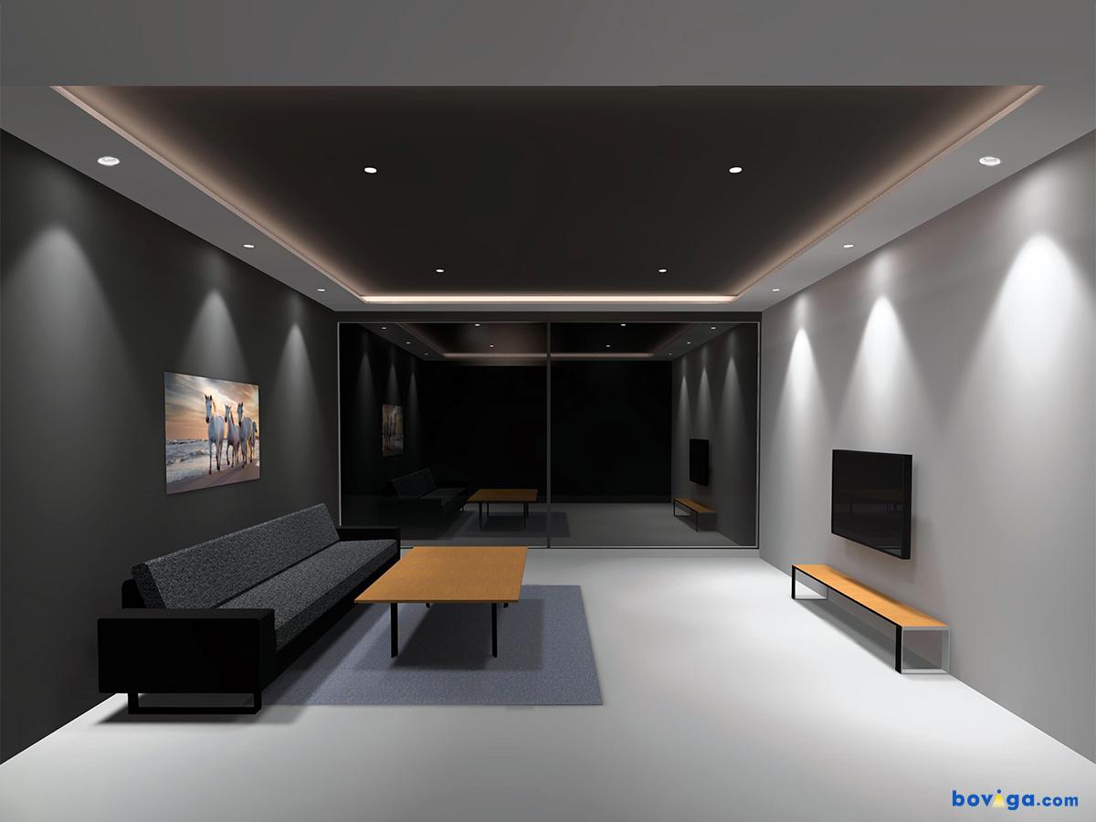 สร้างมุมมองในห้องนั่งเล่นให้น่าสนใจกว่าที่เคย ด้วยการใช้แสงไฟโดยอ้อม (Indirect Lighting) จากไฟเส้นและดาวน์ไลท์